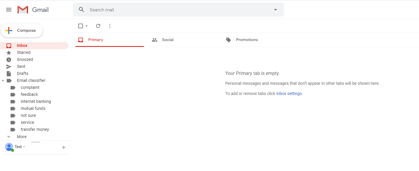 Configure email inbox