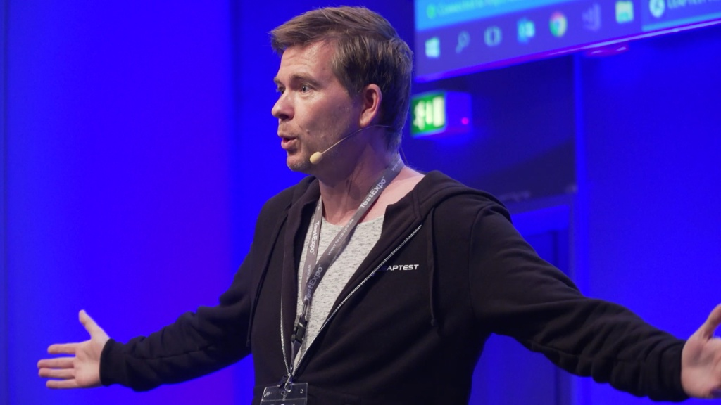 Image of Claus Topholt, CTO of Leaptest, delivering keynote speech at TestExpo 2017.