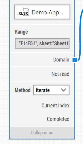 Screenshot of LEAPWORK Studio showing how to set the Iterate method in the Read Excel building block.