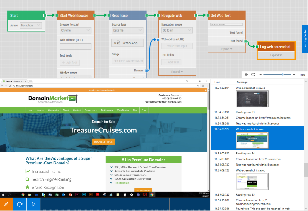 Screenshot of LEAPWORK Studio after the automation case has run.