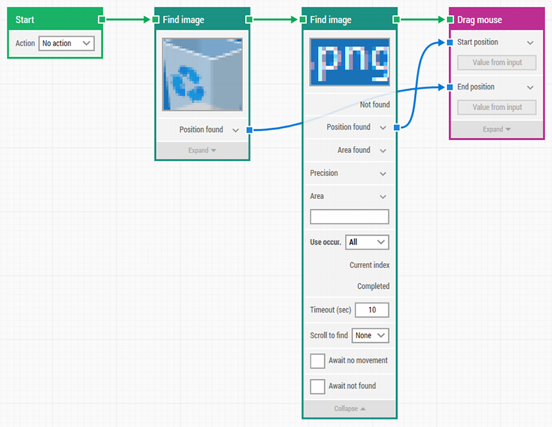 Automate looping, dragging all png files to the recycle bin using LEAPWORK