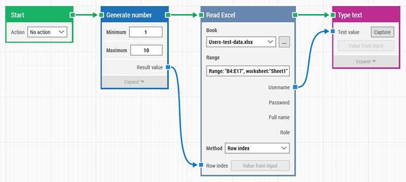 Read Excel sheet and pick a random row in LEAPWORK
