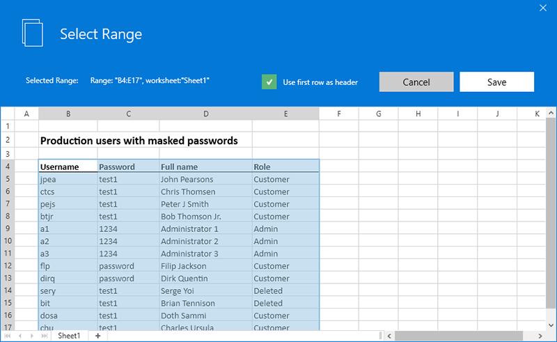 Excel sheet range picker in LEAPWORK