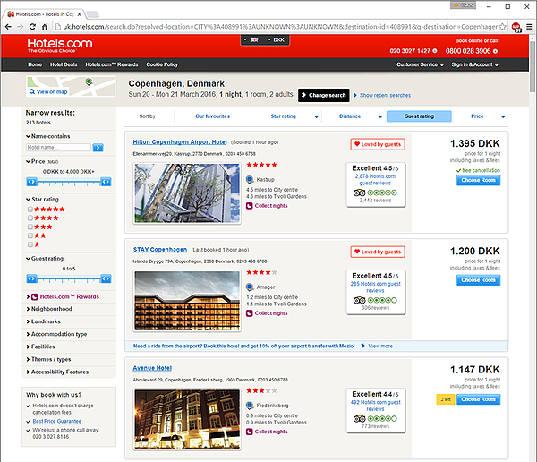 Hotels.com screenshot being automatically tested with LEAPWORK