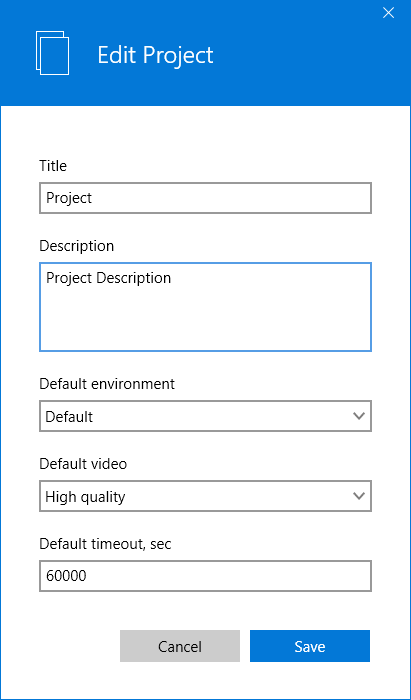 The Edit Project menu in the LEAPWORK Automation Platform.