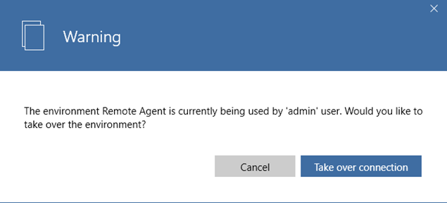 Agent connection warning