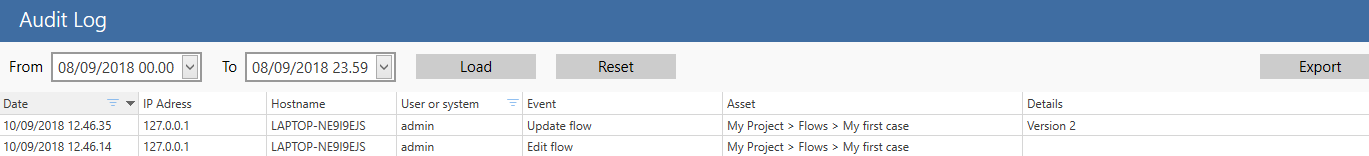 audit log filtering