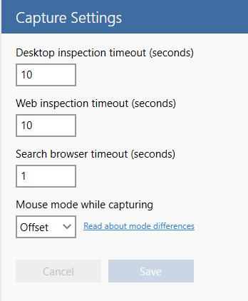 capture settings