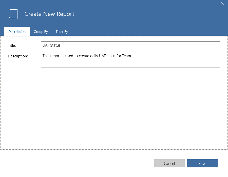 create new report