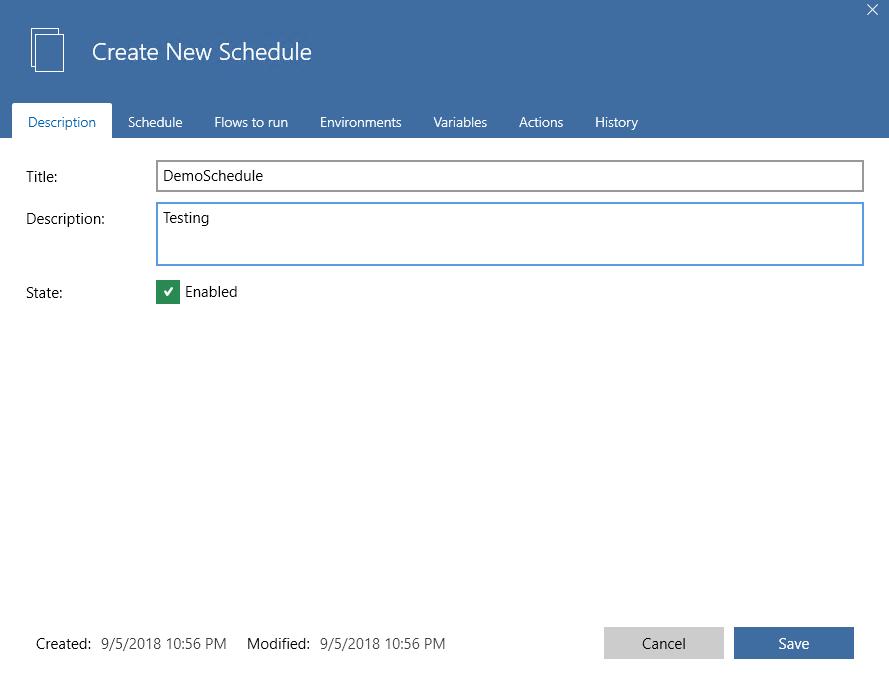 create new schedule