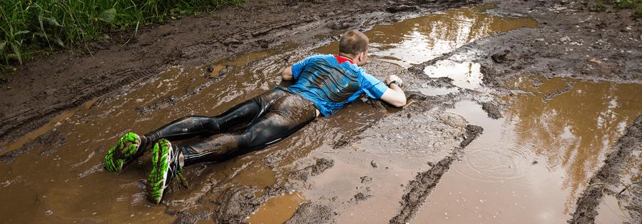 Jogger falling in mud