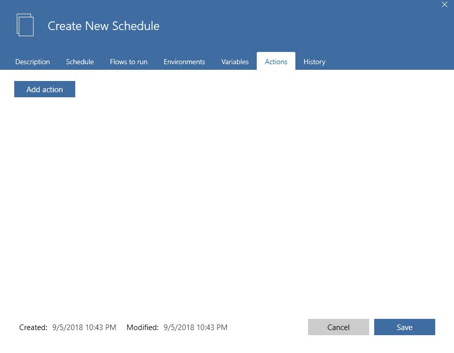 schedule actions