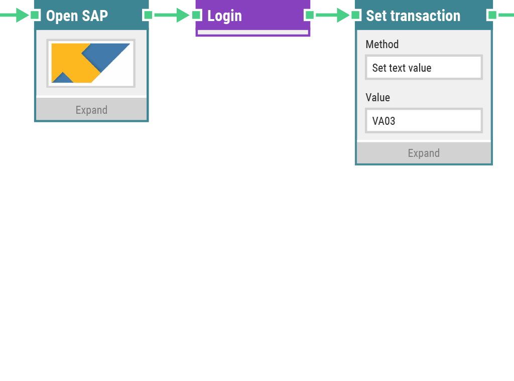 Part of a LEAPWORK SAP automation flow.