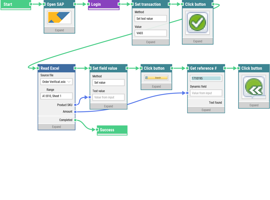 A LEAPWORK automation flow for SAP
