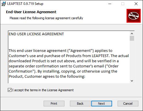 Leaptest MSI installer, End-User License Agremeent