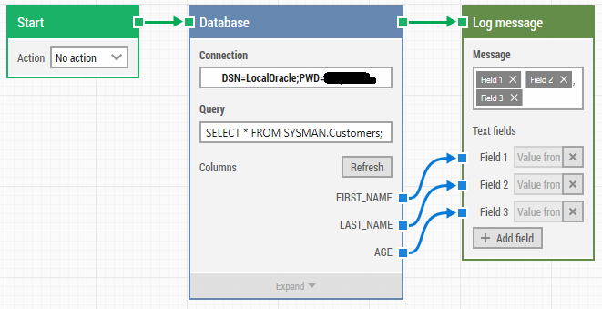 Accessing an Oracle database with LEAPWORK