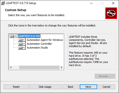 Leaptest MSI installer, select components to install, Studio, Controller, Agent